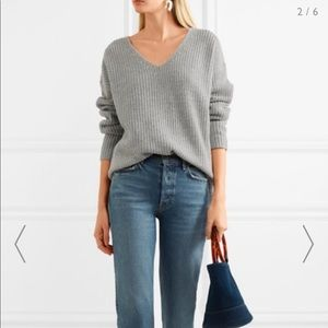 Frame Denim | Oversized Gray Ribbed Neck Sweater